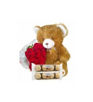 12 (standard) Roses, Bear & Chocolates 95