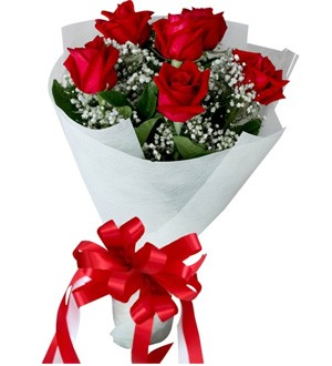6 Red Valentines Roses Bouquet - in a white sheaf
