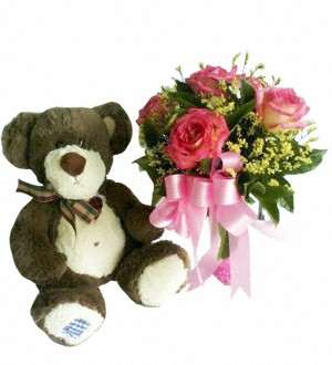 6 Pink Roses and a Cute Bear 73
