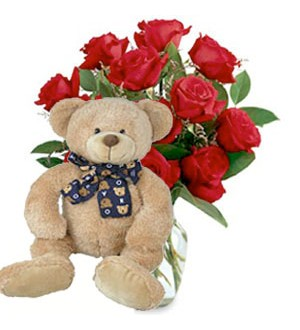 9 Red Roses with Bear (Lucky) 91