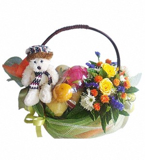 Fruit Basket with Flowers and White Bear 40