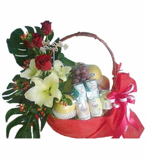 Fruit Flowers and Milk Basket 44
