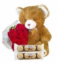 12 (standard) Roses, Bear & Chocolates
