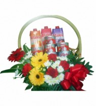 Flowers with Tinned Fruit and Juice Basket 39