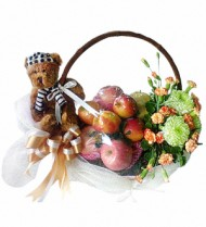 Fruit Basket with Flowers and Bear 41