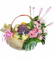 Fruit Basket with Gerbera Flowers 43